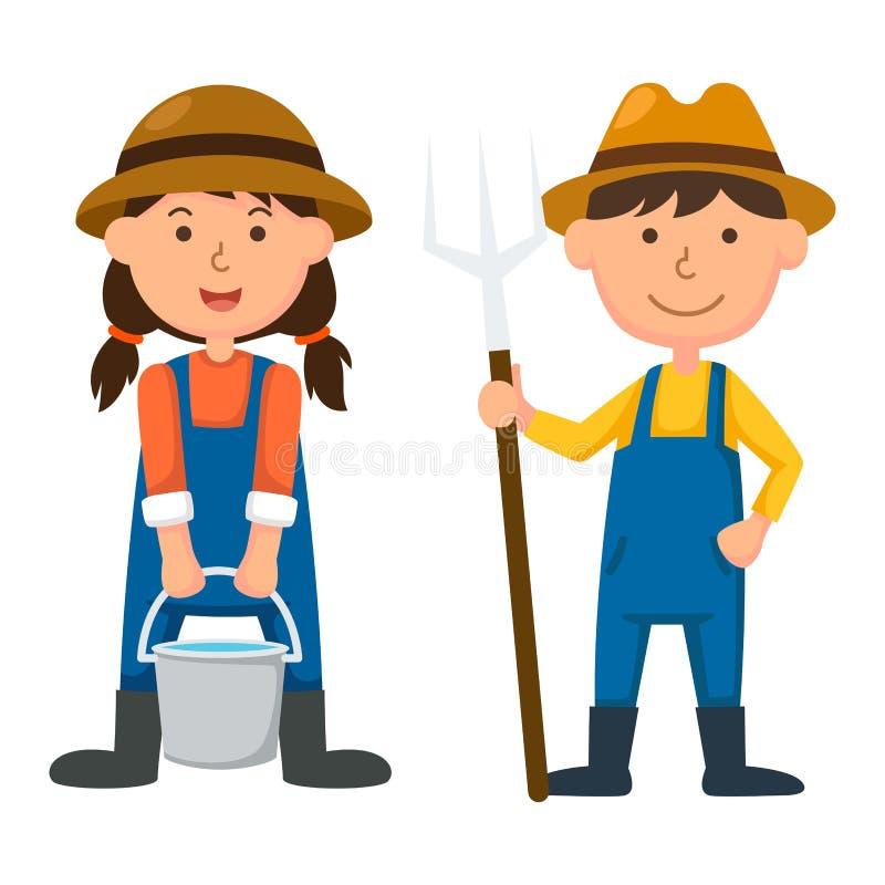 Jonge landbouwer stock illustratie
