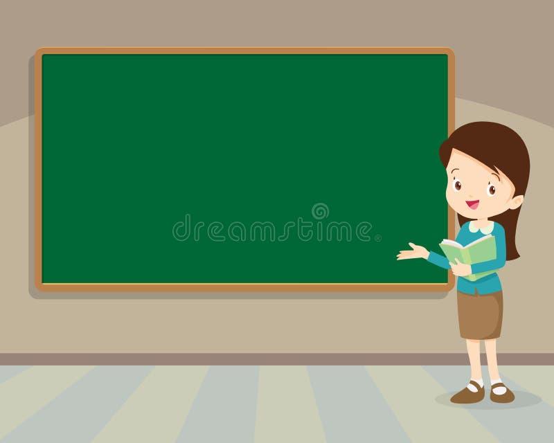 Jonge leraar die zich met bord bevinden royalty-vrije illustratie