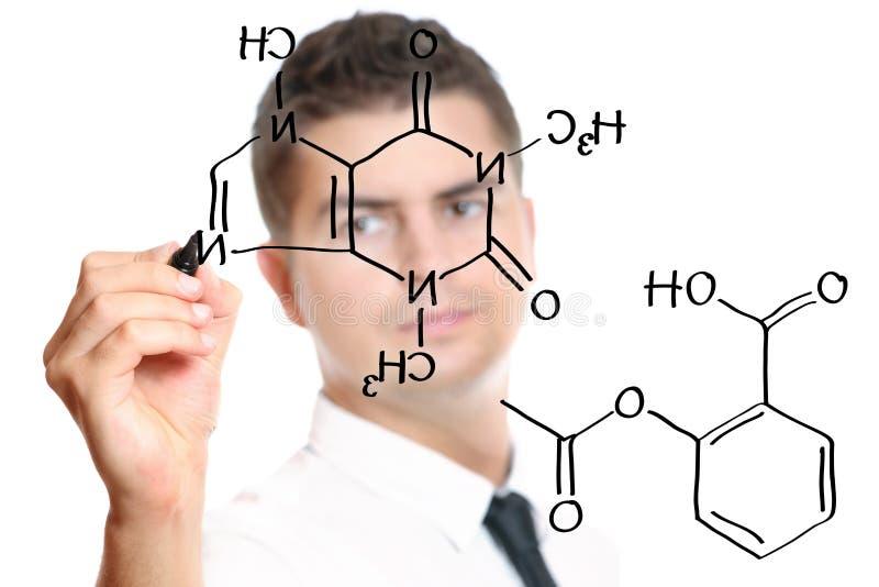 Jonge leraar tijdens chemieklassen royalty-vrije stock afbeelding