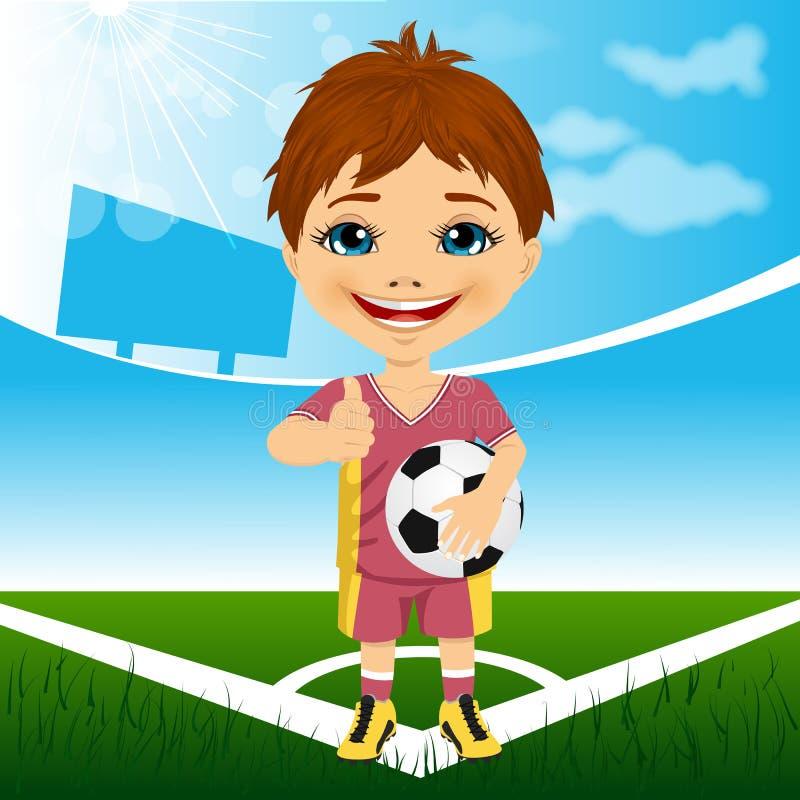 Jonge leuke jongen met voetbalbal die zich in stadion bevinden royalty-vrije illustratie