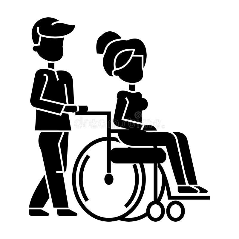 Jonge man die met vrouw in rolstoel, verpleegkundige verzorging voor gehandicaptenpictogram wandelen, vectorillustratie, teken o royalty-vrije illustratie