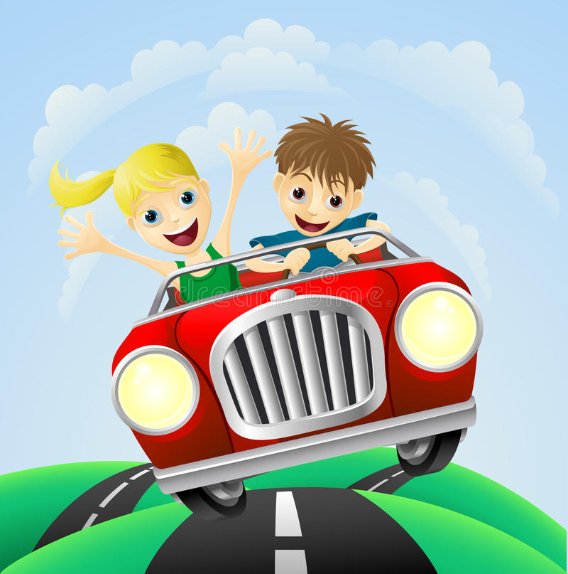 Jonge man en vrouw in auto stock illustratie