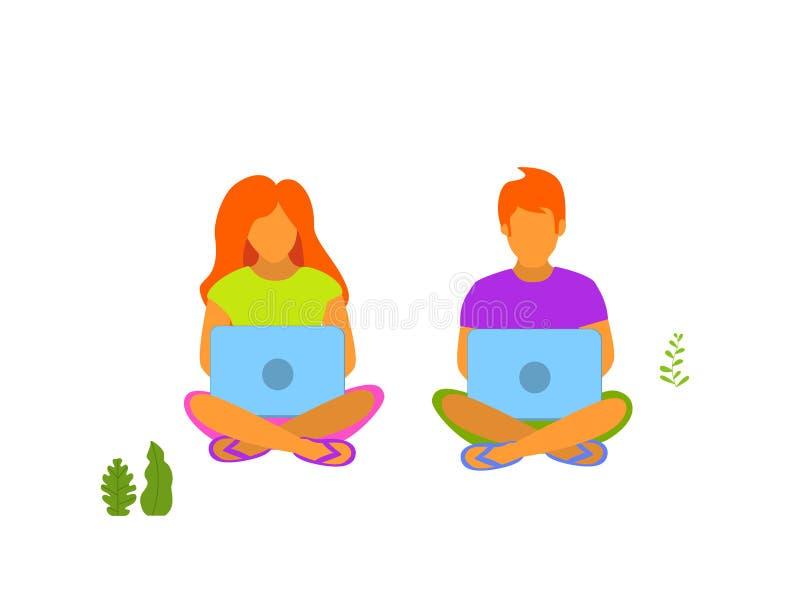 Jonge man en vrouw die aan laptops in het park in openlucht werken vector illustratie