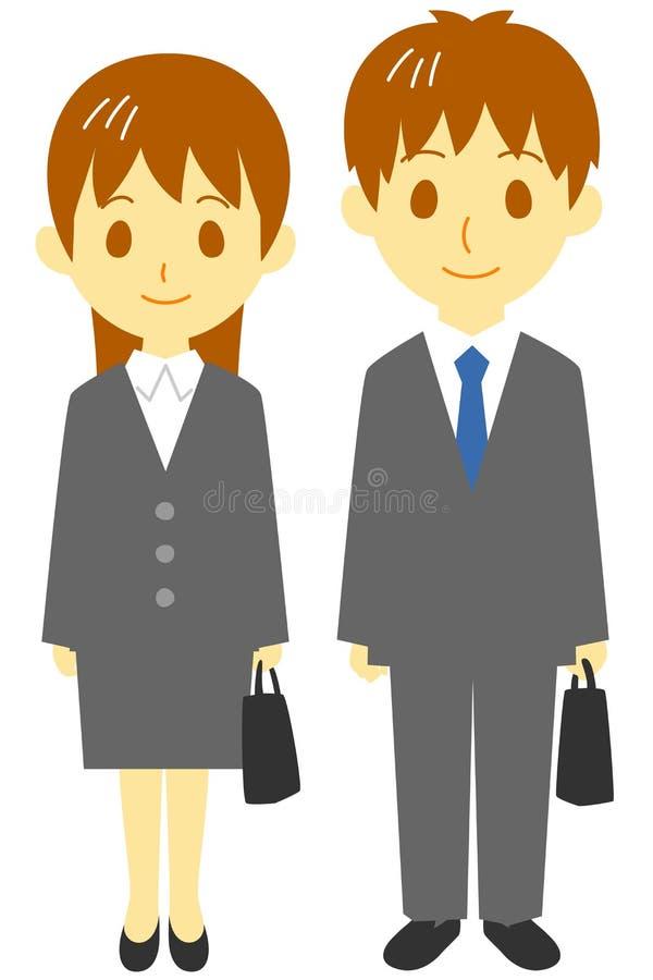 Jonge man en vrouw in kostuums stock illustratie