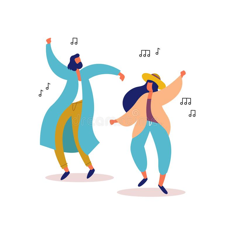 Jonge man en vrouwenvrienden die aan partijmuziek dansen royalty-vrije illustratie