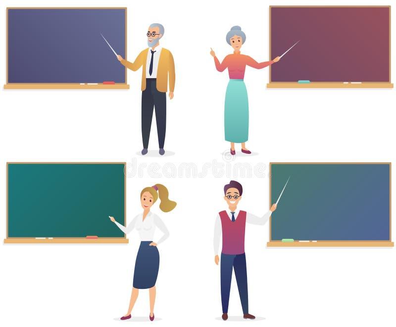 Jonge man, vrouw, hogere mannelijke en vrouwelijke leraren dichtbij bordreeks Vector de illustratieleraar van de in gradiëntkleur vector illustratie