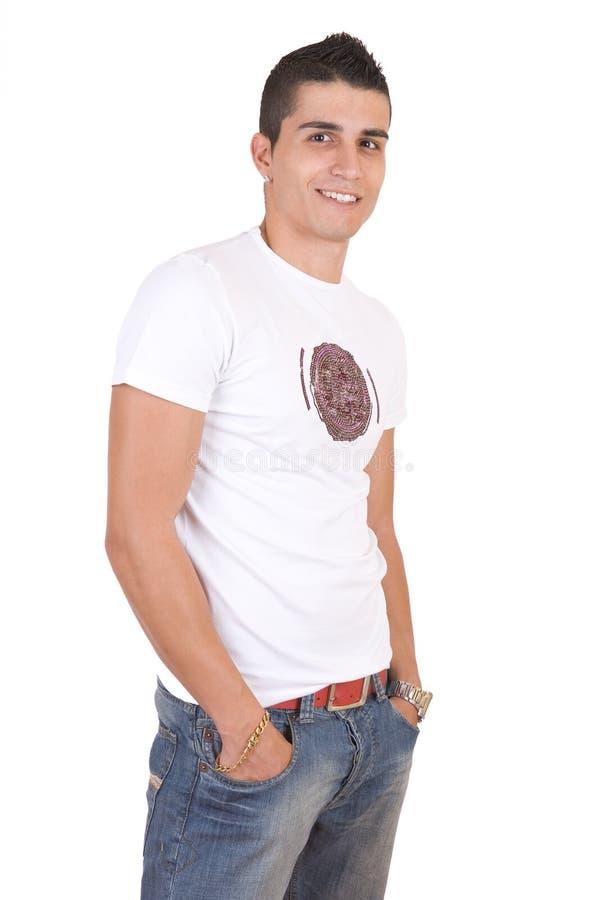 Jonge manier glimlachende mens stock fotografie