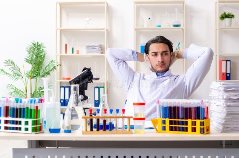Jonge mannelijke chemicus die in het laboratorium werken stock afbeelding
