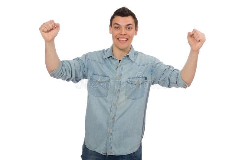 Jonge mannelijke die student op wit wordt ge?soleerd royalty-vrije stock foto's