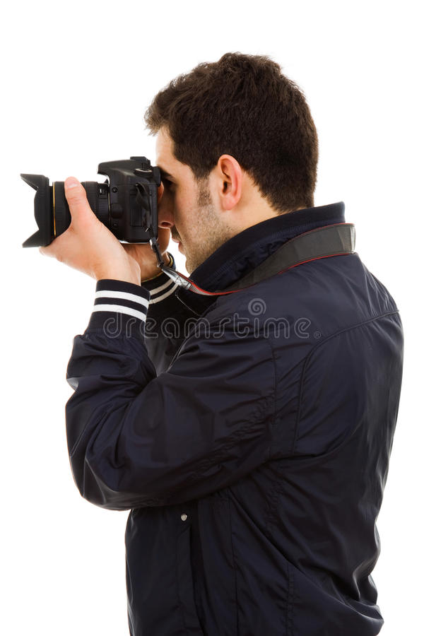 Jonge mannelijke fotograaf royalty-vrije stock fotografie