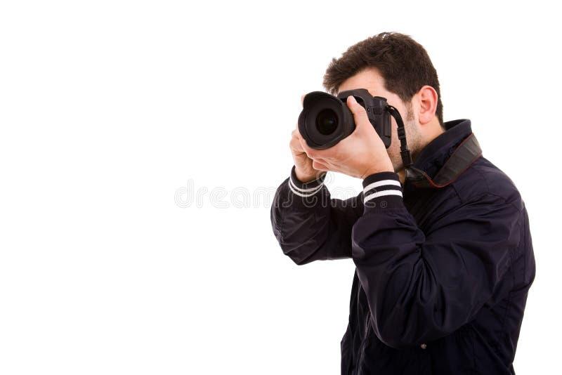 Jonge mannelijke fotograaf stock fotografie