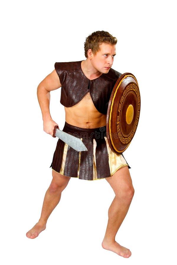 Jonge mannelijke strijder met een schild royalty-vrije stock afbeelding