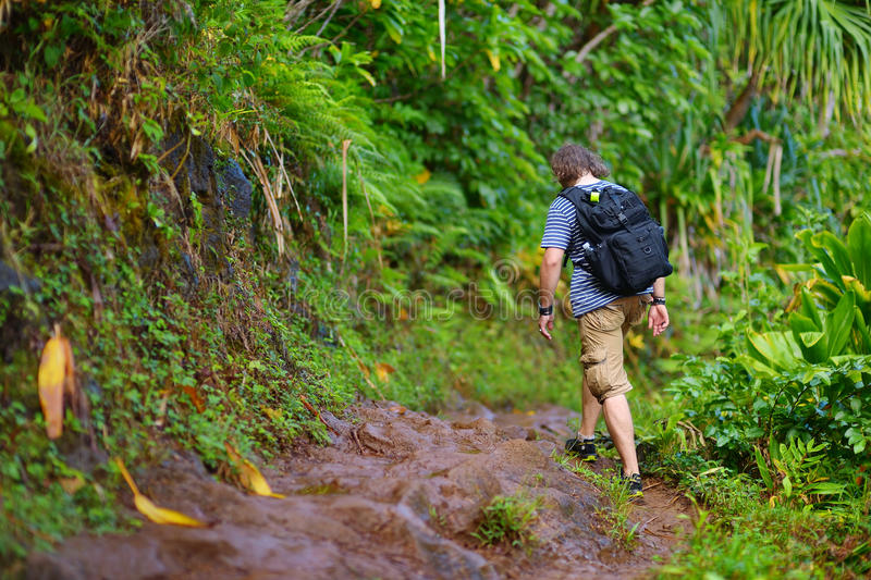 Jonge mannelijke toerist die op de beroemde Kalalau-sleep langs de kust van Na Pali van het Eiland Kauai wandelen royalty-vrije stock afbeelding