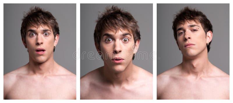 Jonge mannelijke uitdrukkingen van verrassing royalty-vrije stock foto's