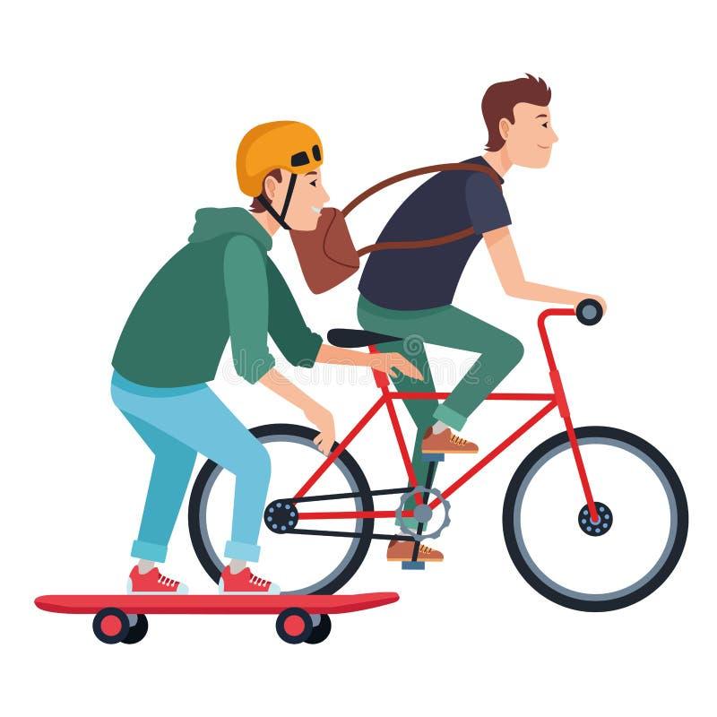 Jonge mannelijke vrienden met fiets en skateboard stock illustratie