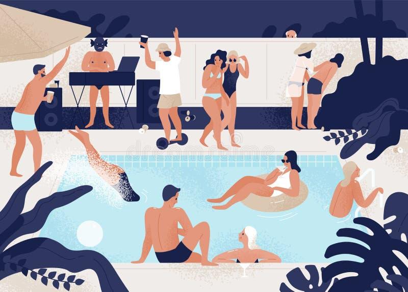 Jonge mannen en vrouwen die pret hebben bij openlucht of openlucht zwembadpartij Mensen duiken, die in rubberring drijven vector illustratie