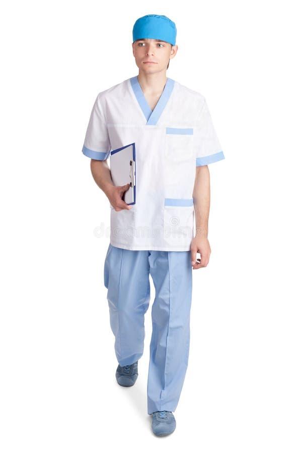 Jonge medische arts in beweging royalty-vrije stock foto's