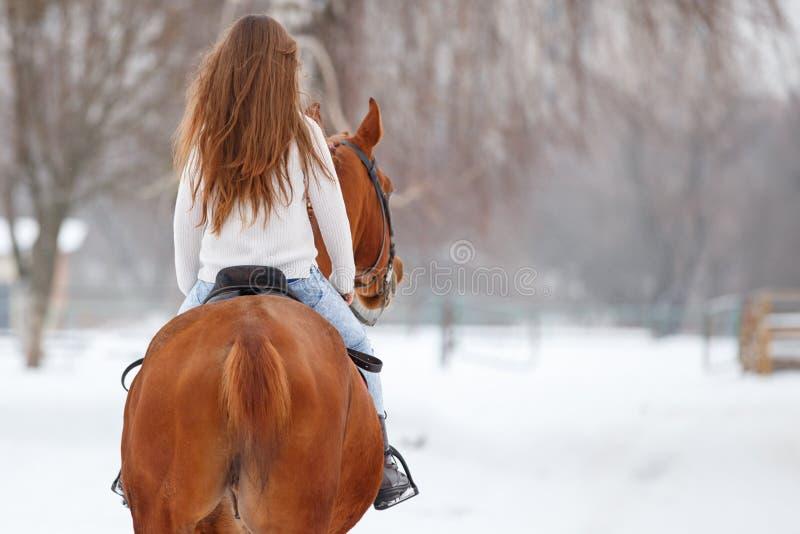 Jonge meid met lange krullende haren op het winterveld royalty-vrije stock foto's