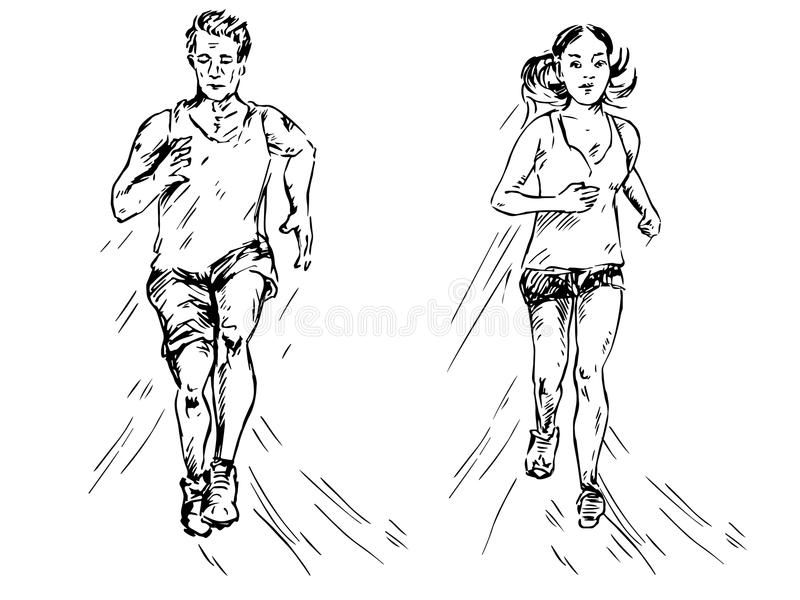 Jonge meisje en mens die in sportkleding lopen vector illustratie