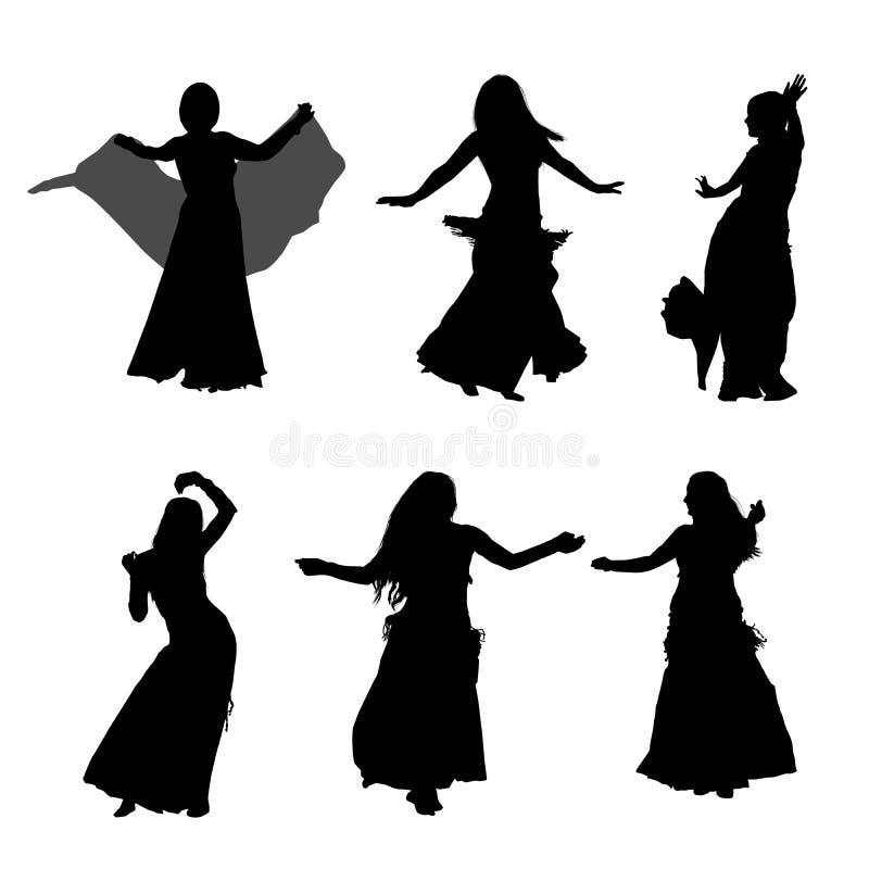 Jonge meisje het dansen buikdans Silhouet van meisje het dansen Arabische dans Reeks silhouetten Vector illustratie royalty-vrije illustratie
