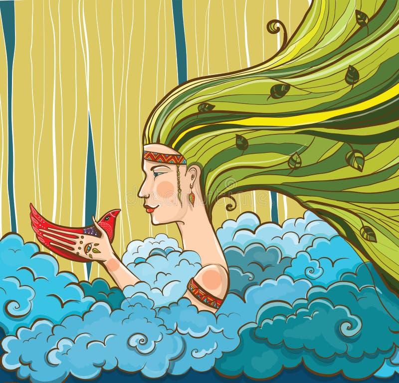 Jonge meisje-hippie met vogel in haar hand royalty-vrije illustratie