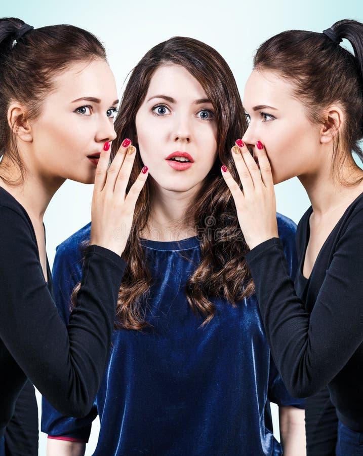 Jonge meisjes die één of ander geheim roddelen stock foto