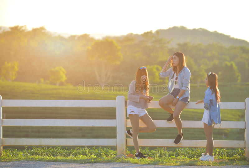 Jonge Meisjes die uit in Park samen hangen royalty-vrije stock afbeelding