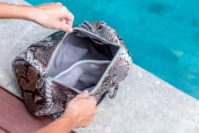 Jonge meisjeshanden die de grote handtas van de snakeskinpython in handen openen dichtbij het zwembad Bali, Indonesië royalty-vrije stock fotografie