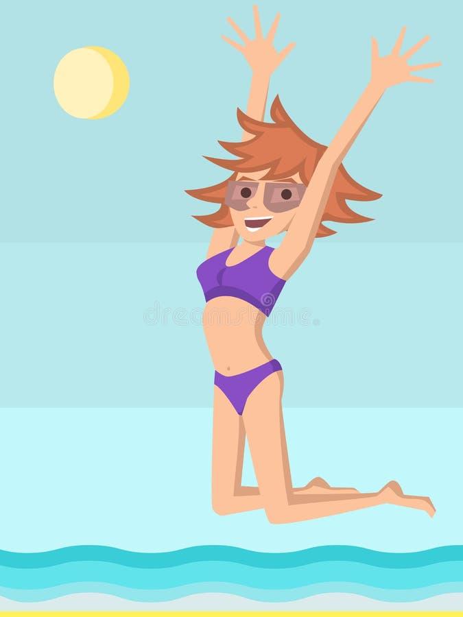 Jonge meisjessprongen van geluk bij de kust royalty-vrije illustratie