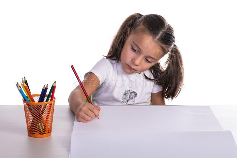 Jonge Meisjestekening met Kleurpotlood stock foto