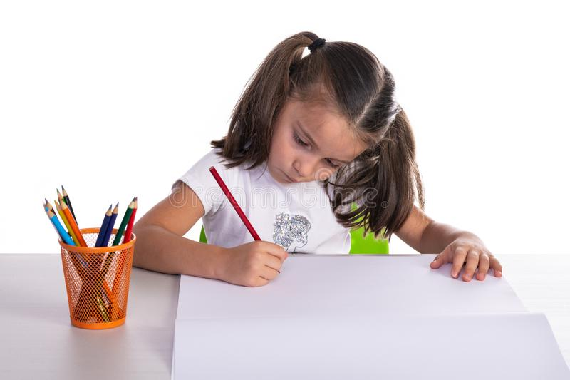 Jonge Meisjestekening met Kleurpotlood royalty-vrije stock foto