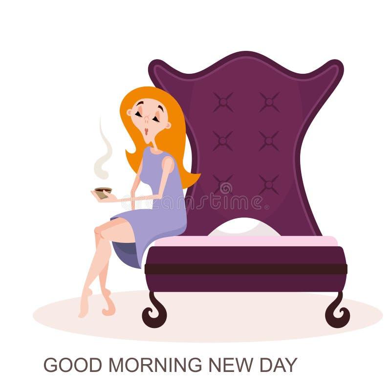 Jonge meisjeszitting op een bed vector illustratie