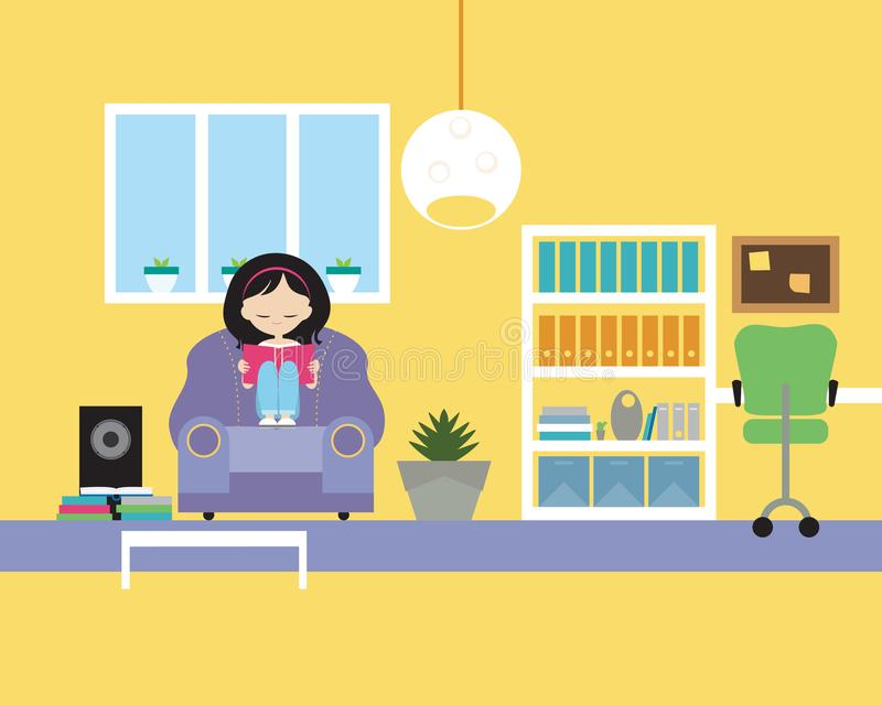Jonge meisjeszitting op stoel en lezingsboek in woonkamer met royalty-vrije illustratie