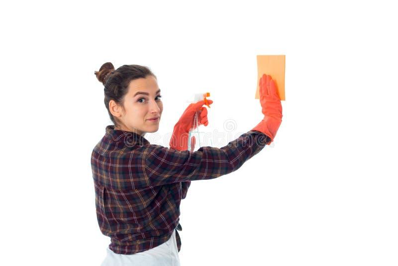 Jonge meisjevrouw met reinigingsmiddelen royalty-vrije stock fotografie