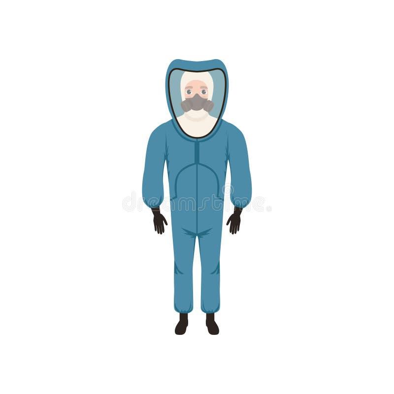 Jonge mens in blauwe beschermende kostuum, gasmasker en handschoenen Bescherming tegen bio of radioactief gevaar Vlak vectorontwe royalty-vrije illustratie