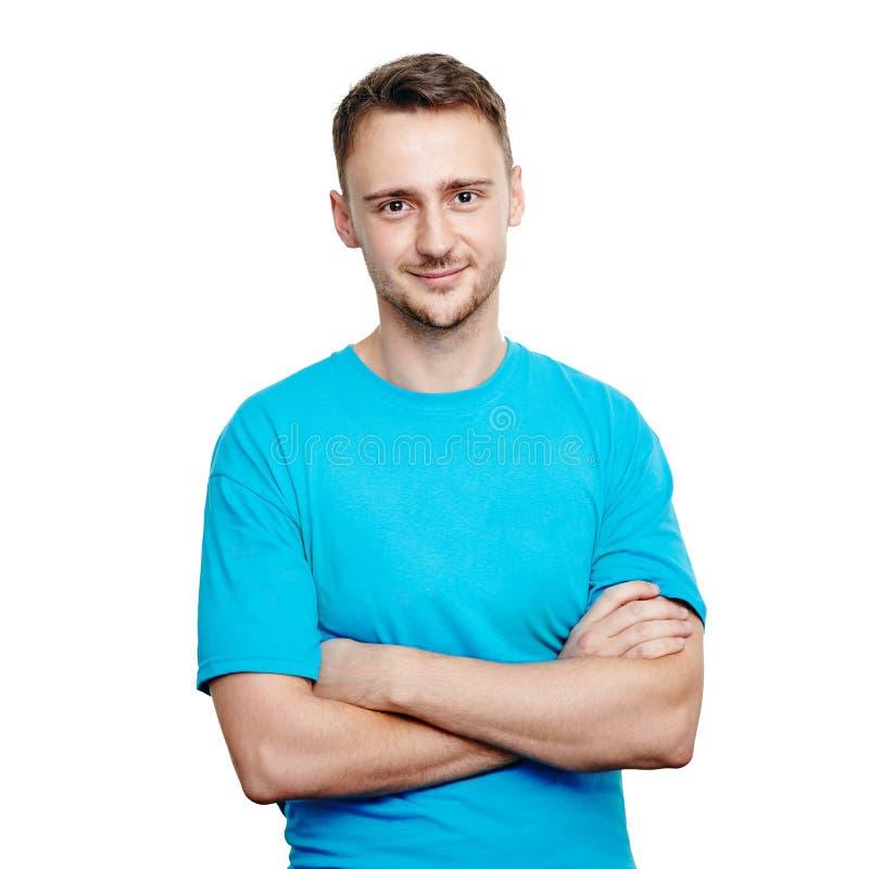 Jonge mens in blauwe t-shirt royalty-vrije stock fotografie