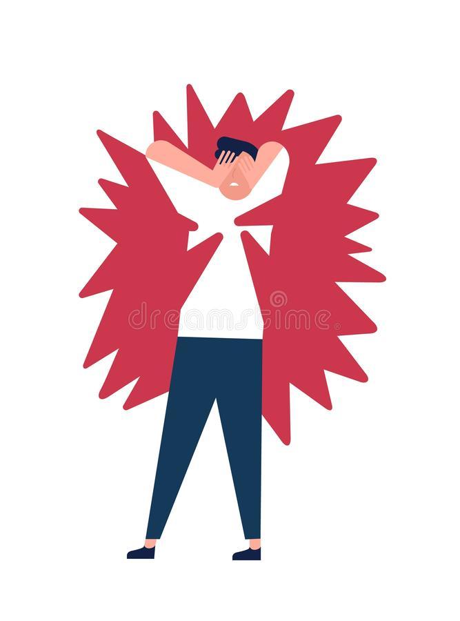 Jonge mens die aan geestelijke pijn, nood, bezorgdheid lijden Ongelukkige kerel onder druk van spanning, woede, woede en woede of vector illustratie