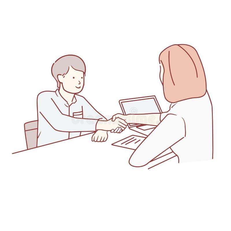 Jonge mens die contracten en handdruk met manager ondertekenen hand getrokken vectorkunststijl royalty-vrije illustratie