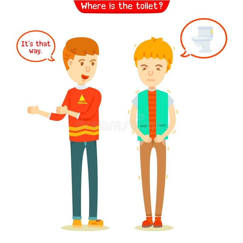 Jonge mens die de manier vragen aan het toilet vector illustratie
