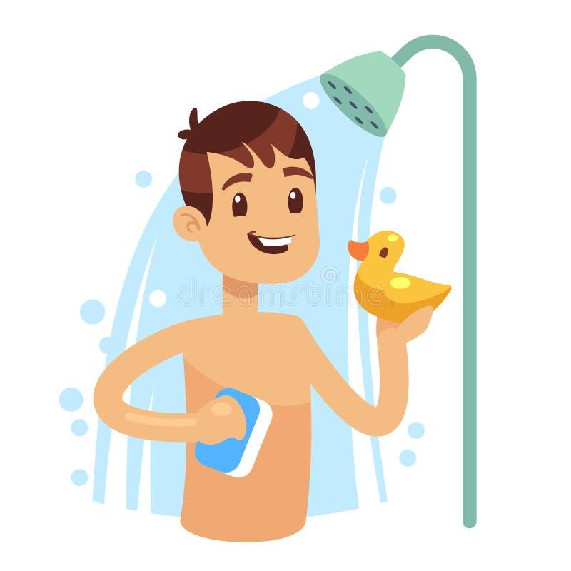 Jonge mens die douche in badkamers nemen Kerelwas zelf stock illustratie
