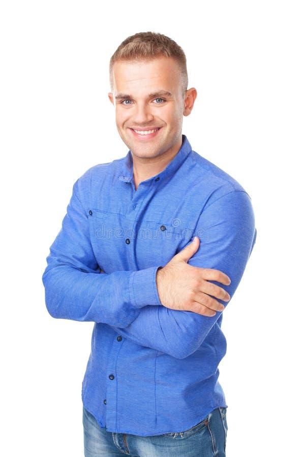 Jonge mens die een blauw overhemd dragen royalty-vrije stock foto's