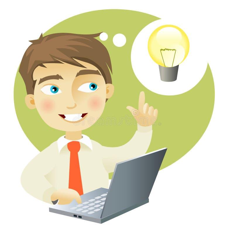 Jonge mens die een idee heeft vector illustratie