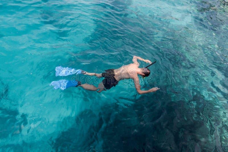 Jonge mens die en met masker en vinnen in duidelijk blauw water zwemmen snorkelen stock afbeelding