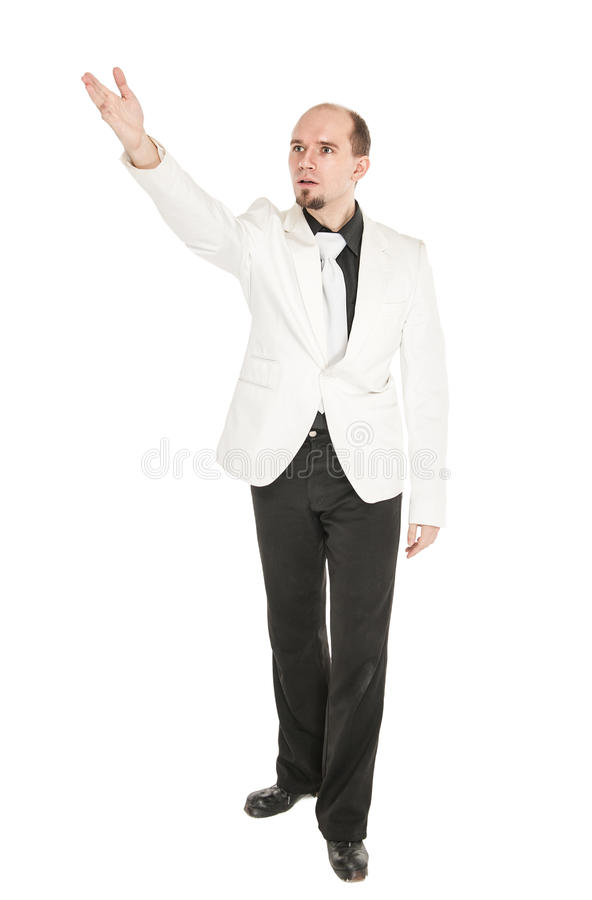 Jonge mens die iets tonen door zijn geïsoleerde hand royalty-vrije stock foto