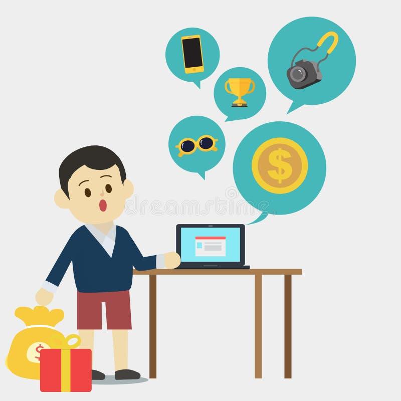Jonge mens die laptop met behulp van om product te vinden royalty-vrije illustratie