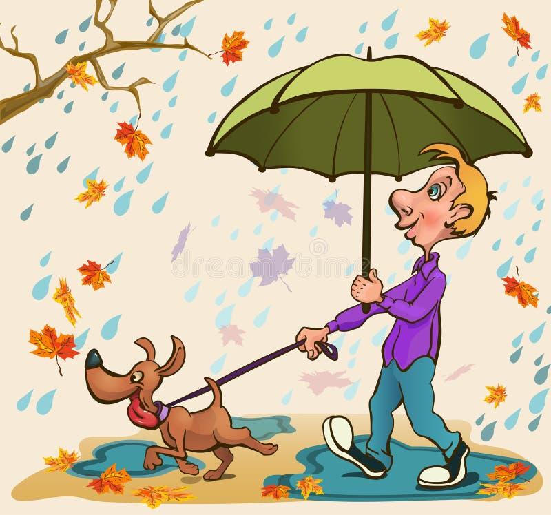 Jonge mens die met een hond in het park in de regen lopen stock foto's