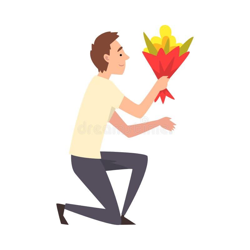 Jonge Mens die neer met Boeket van Bloemen, Guy Making Marriage Proposal, Gelukwensen op Vakantie, Verjaardag knielen of royalty-vrije illustratie