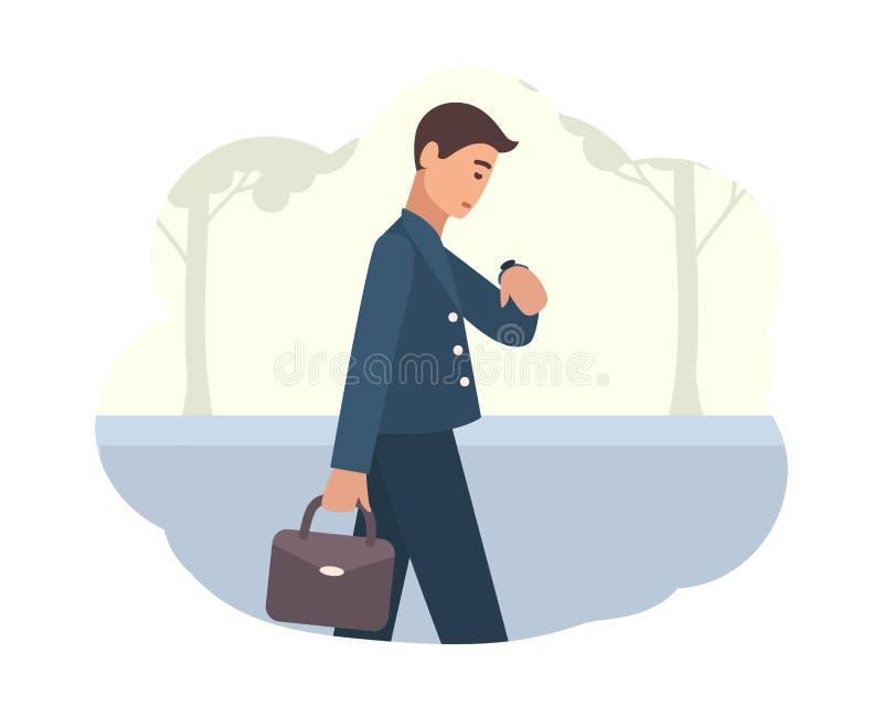 Jonge mens die in ochtend gaan werken Mannelijk karakter die op straat lopen en polshorloge bekijken Bezig persoon of bureau royalty-vrije illustratie