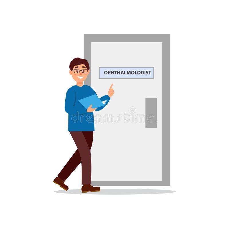 Jonge mens die op artsens kantoor lopen Deur van oftalmoloogkabinet Kerel in glazen, blauwe sweater en bruine broek met stock illustratie