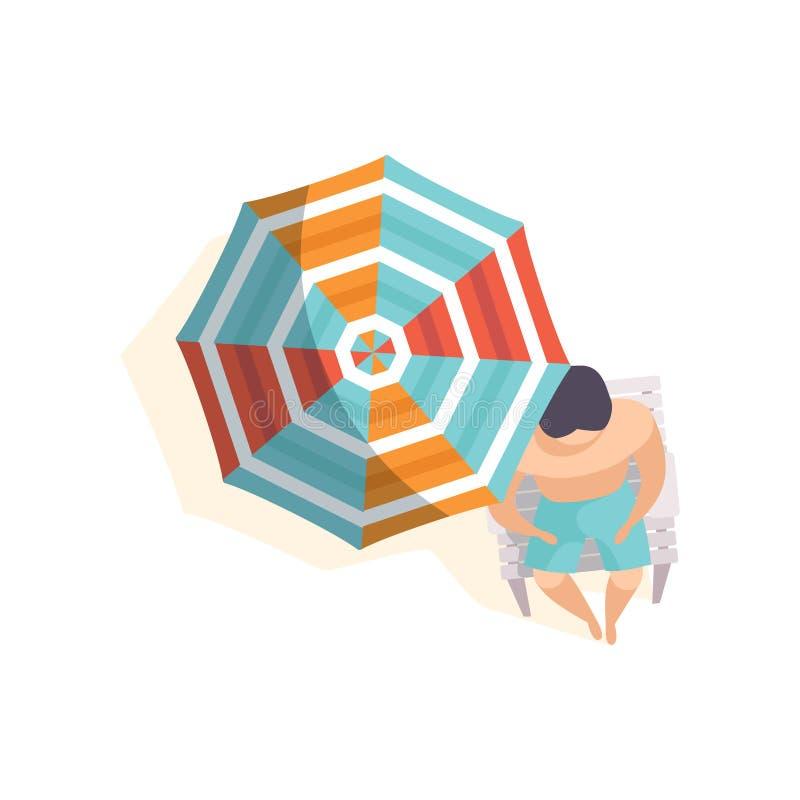 Jonge mens die op het strand onder paraplu, hoogste menings vectorillustratie op een witte achtergrond zonnebaden stock illustratie
